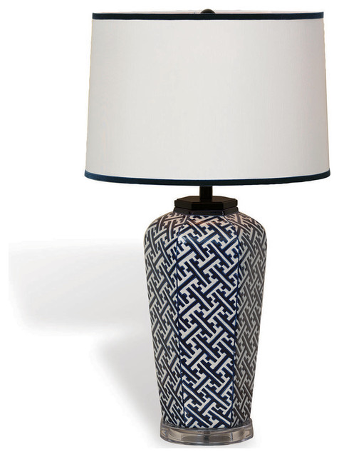 Geo Modern Blue White Patterned Hand Painted Porcelain Lamp ...