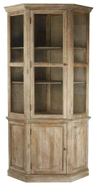 Eden French Country European Rustic Limed Oak Large Storage Display Cabinet  Farmhouse China Cabinets