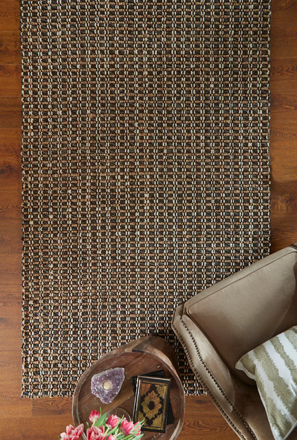 Intoppo Hand Woven Jute Area Rug, Charcoal And Natural, 2'x3' by Kosas Home