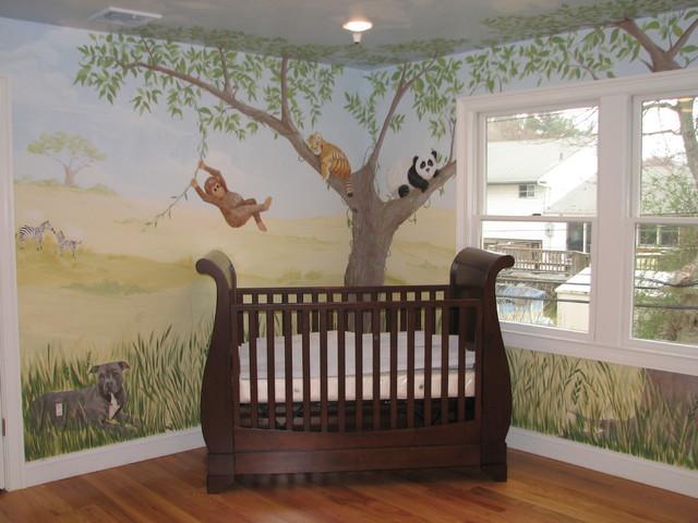 Safari Nursery Mural Traditional