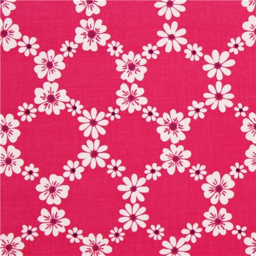 pink flower fabric with floral print by Michael Miller USA