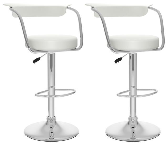 Sensational Corliving 33 Open Back Adjustable Bar Stool In White Set Of 2 Ibusinesslaw Wood Chair Design Ideas Ibusinesslaworg