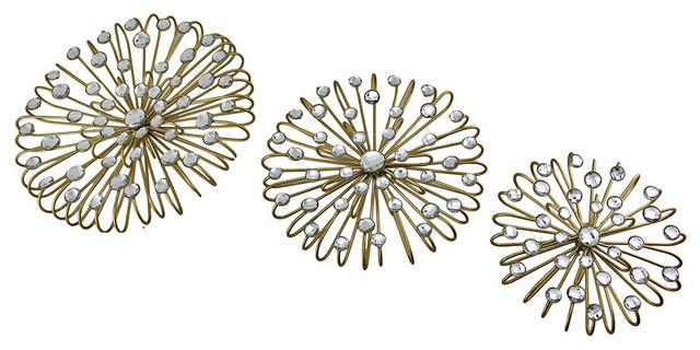 Gold Star Wall Decor: Jeweled Gold Finish Metal Star Burst Wall Hangings, 3