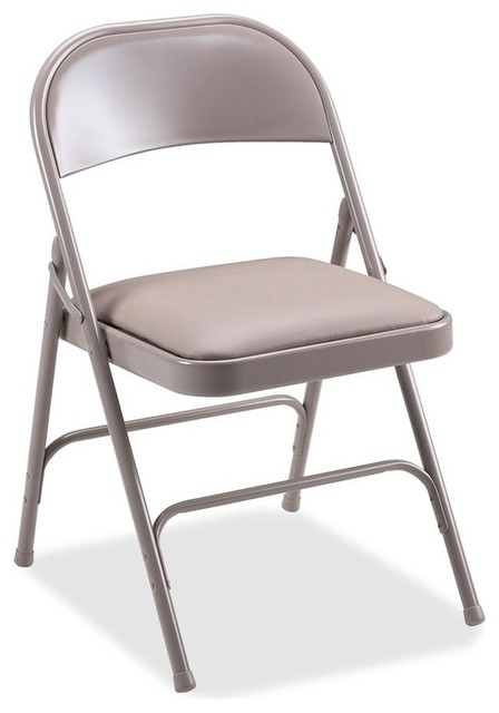Terrific Lorell Steel Folding Chairs Vinyl Beige Seat Set Of 4 Pabps2019 Chair Design Images Pabps2019Com