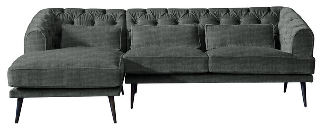 Earl Grey Chaise Sofa, Pewter, 3 Seater, Left Hand Facing