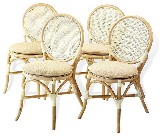 Denver Dining Rattan Wicker Armless Side Chairs w/Cream Cushions, Set of 4, Whit