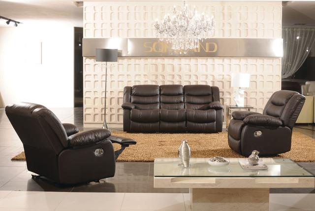 Ravenna Italian Leather Reclining Sofa Set