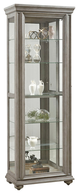 Micah Display Cabinet With Sliding Door Gray Traditional China