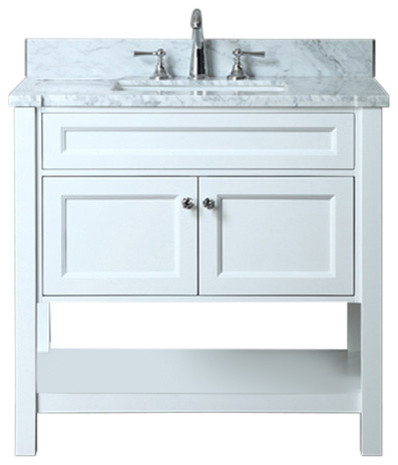 Seacliff By Ariel Mayfield Single Sink Bathroom Vanity Set, White, 36.
