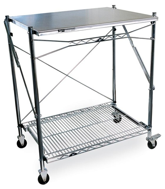 Flip And Fold Rolling Table Stainless Steel Wood: Folding Work Table W Stainless Steel Top