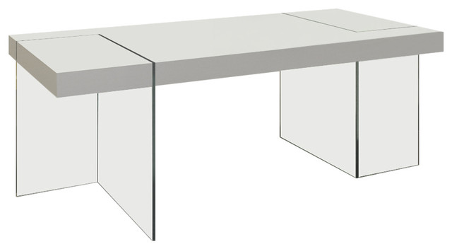 White Lacquer Dining Table With 15mm Thick Glass Base.