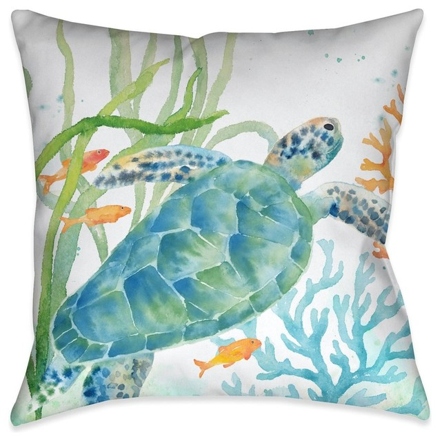 Laural Home Sea Life Turtle Indoor Decorative Pillow.