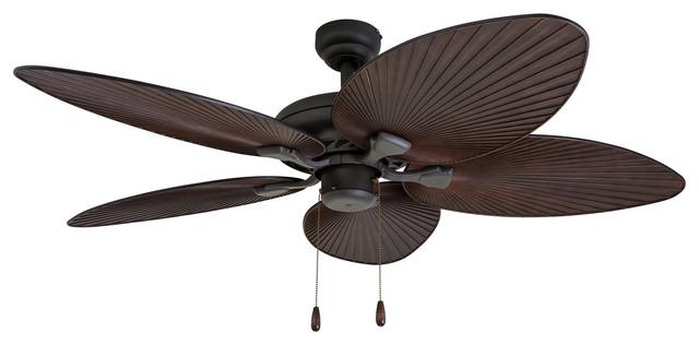 """52"""" Boca Grande Bronze Indoor Ceiling Fan With Remote Control"""