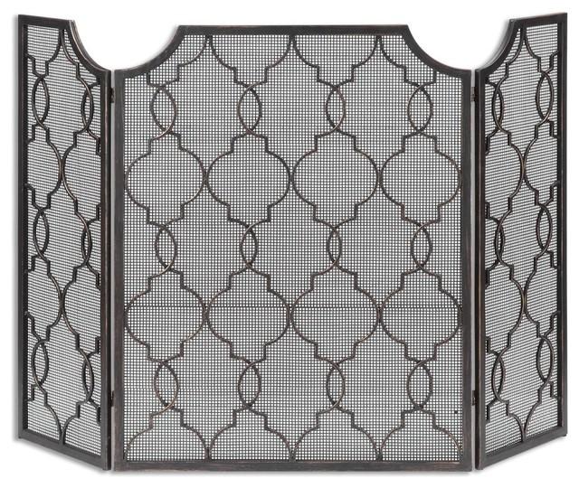 metal fireplace screens. Arabesque Fretwork Metal Fireplace Screen mediterranean fireplace screens  Mediterranean