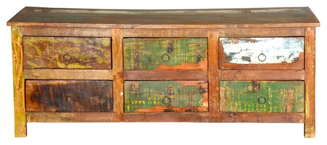 California Mission Distressed Reclaimed Wood Low 6-Drawer Dresser.