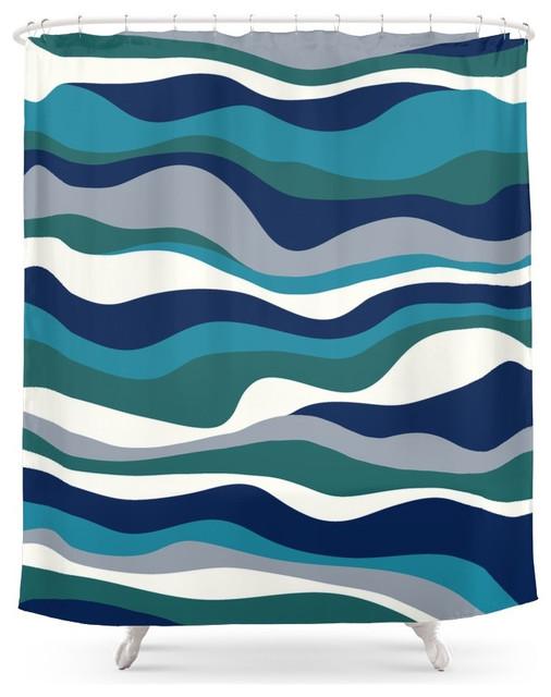 Cordillera Stripe Teal Navy Combo Shower Curtain