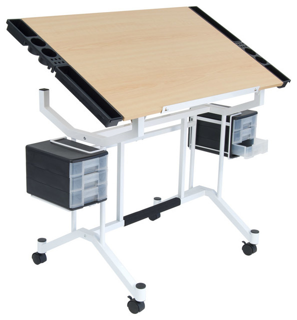 Offex Home Office Pro Craft Station, White/maple, Ups Box.