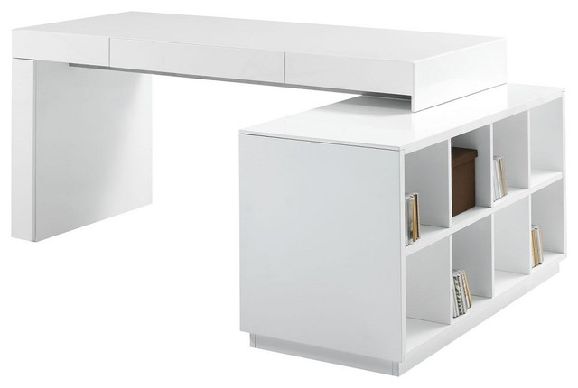 J M S005 Modern Office Desk White Lacquer Finish Desks And Hutches