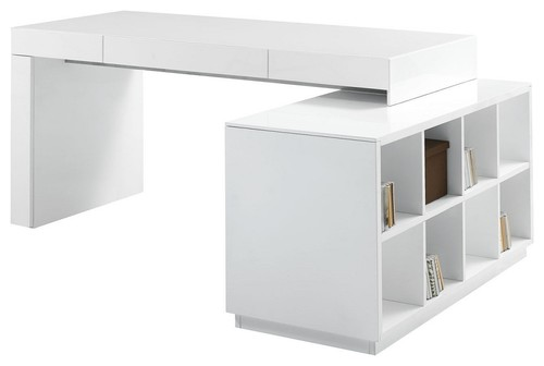 are both sides of bookcase with storage? are there drawers on desk?