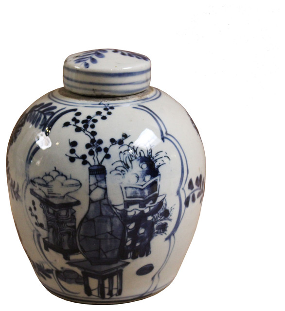 Chinese Oriental Small Blue White Porcelain Ginger Jar Hcs4432
