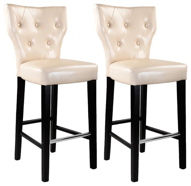 Kings Bar Height Barstool, Cream Bonded Leather, Set Of 2 Transitional Bar