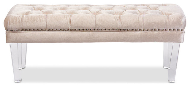 Edna Rectangular Upholstered Lux Tufted Bench Acrylic Legs Beige