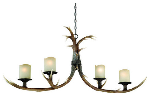 Vaxcel Lighting Yoho 4 Light Single Tier Chandelier with Frosted Glass Shades