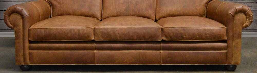 Arizona Leather Sofa Chaise Sectional In Italian Brompton Classic Vintage