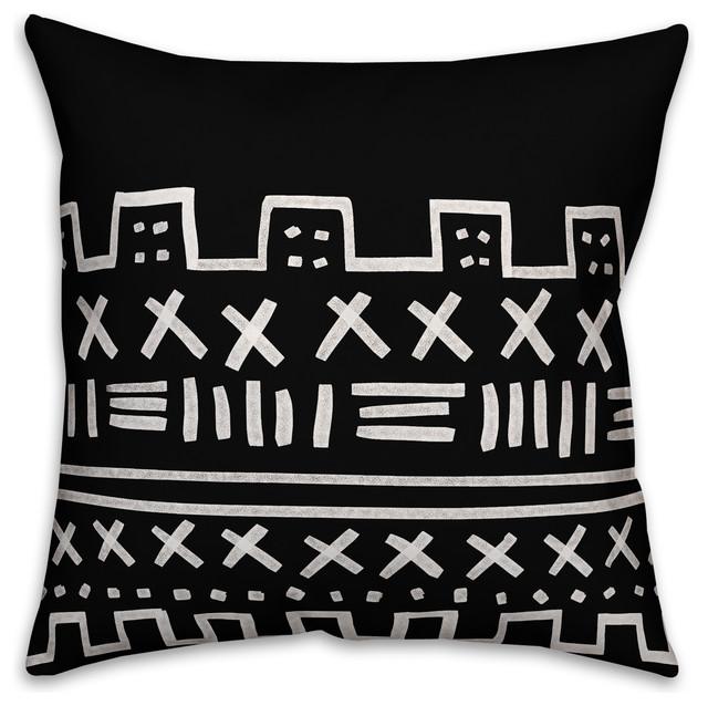White Tribal 18x18 Outdoor Throw Pillow