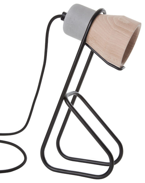 Black Thinkk Desk Lamp, Beech Wood Lampshade