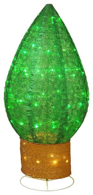 42-Inch Tall, Green, Lighted Christmas Bulb Decoration With Snowflake Accents.