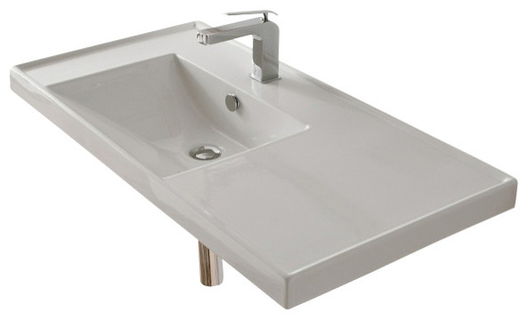 Rectangular White Ceramic Self Rimming or Wall Mounted Bathroom Sink  No  Hole modern bathroom. Rectangular White Ceramic Self Rimming or Wall Mounted Bathroom