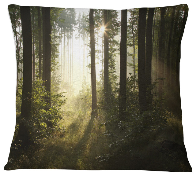 Sofa Throw Pillow 16 in x 16 in Designart CU9540-16-16 Early Morning Sun in Misty Forest Landscape Photography Cushion Cover for Living Room Insert Printed On Both Side in