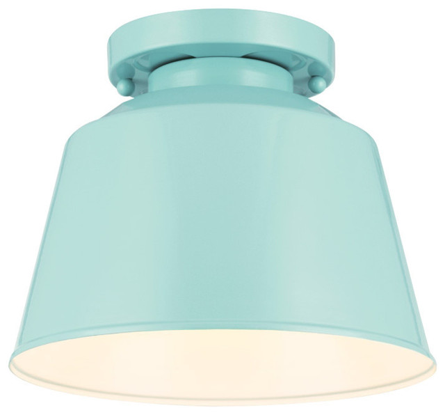 Freemont 1-Light Semi Flush Mount, Blue.