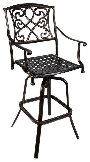 Outdoor Patio Furniture Cast Aluminum Swivel Bar Stool
