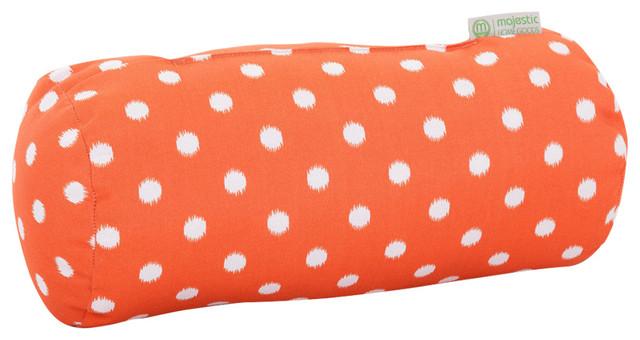 Outdoor Orange Ikat Dot Round Bolster Pillow