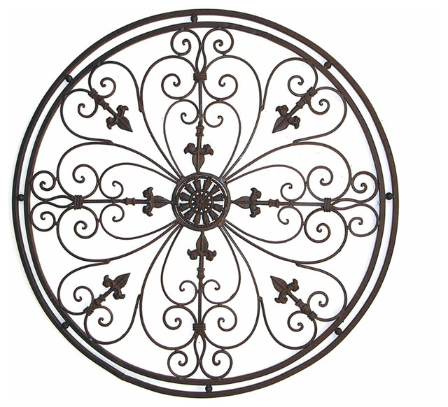 "Circle Metal Wall Art adrianna 36"" round tuscan wrought iron metal wall grille plaque"