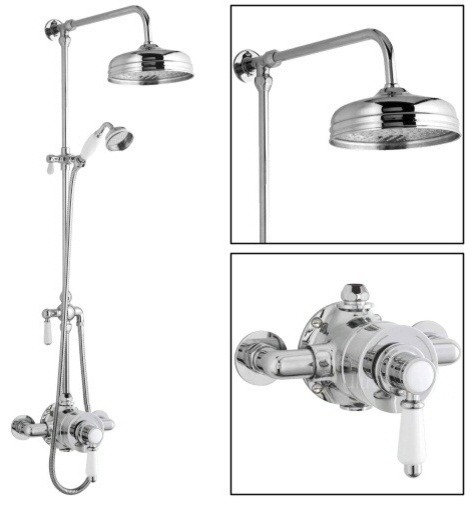 New Traditional Shower System With Rainfall Head Grand Rigid Riser ...