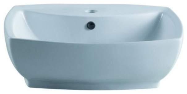 Marquis White China Vessel Bathroom Sink With Overflow Hole & Faucet Hole Ev8145.