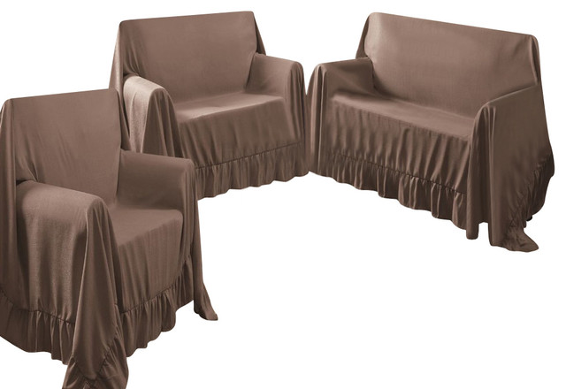 Venice 3 Piece Sofa, Loveseat, Chair Protector Throw Cover Set, Chocolate  Traditional
