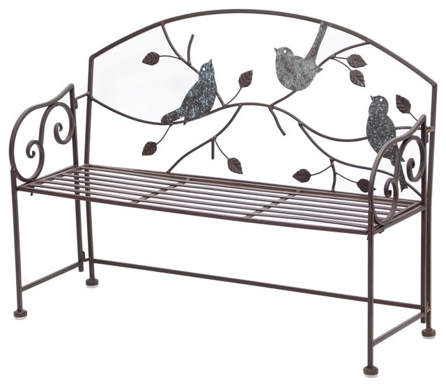 Decorative Folding Metal Bench With Bird And Vines