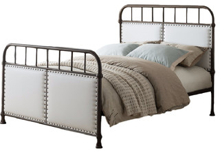 Alpine Upholstered Faux Leather and Metal Bed, Pewter, Full