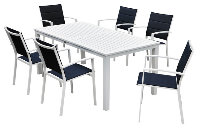 Stupendous Skyline White Aluminum Outdoor Rectangle Table Dining Set 7 Pc Set Interior Design Ideas Apansoteloinfo