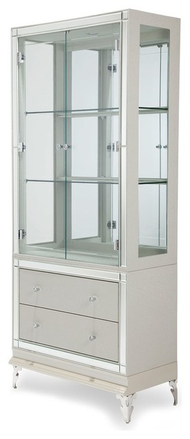 AICO Hollywood Loft Curio Frost Contemporary China Cabinets And Hutches