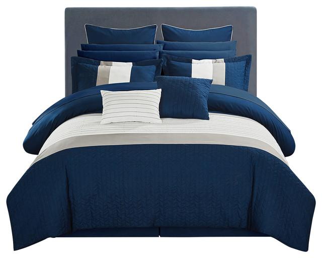 . Vixen Navy King 24 Piece Comforter Set