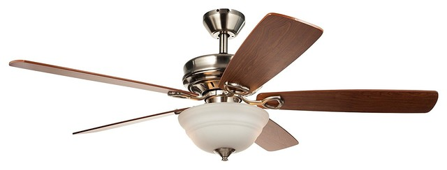 52 Ceiling Fan With Remote Control, Brushed Nickel Ceiling Fan.