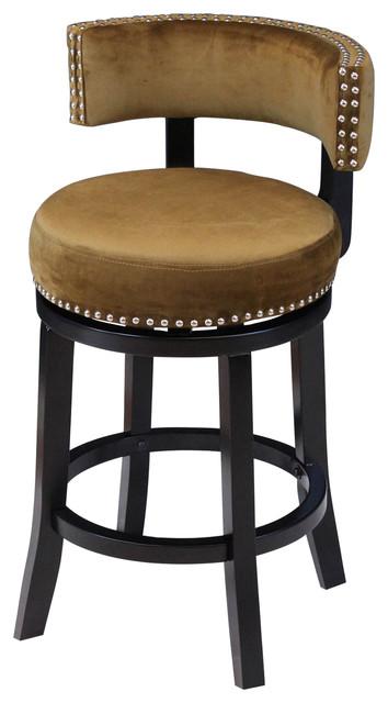 Mossoro Velvet Swivel Counter Chair Ink Navy