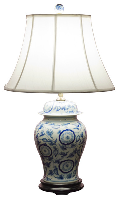 Blue And White Porcelain Ginger Jar Lamp With Silk Shade