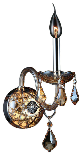 Shop Houzz Crystal Lighting Palace Transitional 1 Light Chrome Finish Amber Crystal Candle ...