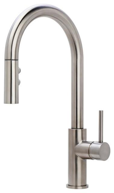 Miseno Gemma Pull-Down Multi-Flow Spray Kitchen Faucet, Stainless Steel